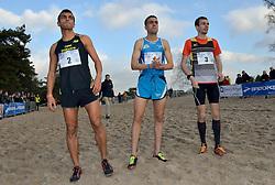 31-12-2014 NED: Rabobank Sylvestercross, Soest<br /> Khalid Choukoud is voor de tweede keer winnaar geworden van de Sylvestercross in Soest. Roman Romarenko (3), de kampioen van Oekraïne, finishte op dertien seconden als tweede en de Belg Soufiane Bouchiki (2) eindigde op twintig seconden als derde.