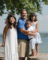Buck Family portraits at Governor's Island beach.  ©2019 Karen Bobotas Photographer