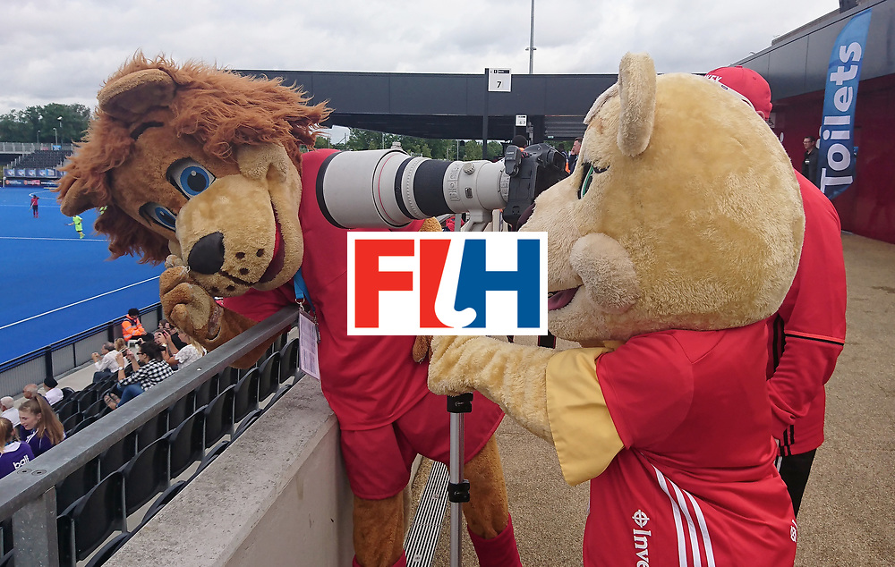 LONDON, ENGLAND - JUNE 24:  (EDITORS NOTE: Best quality available - shot on camera phone) Mascots hold camera prior to the 5th-8th place match between Pakistan and India on day eight of the Hero Hockey World League Semi-Final at Lee Valley Hockey and Tennis Centre on June 24, 2017 in London, England.  (Photo by Alex Morton/Getty Images)