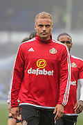 Sunderland defender Wes Brown during the Barclays Premier League match between Everton and Sunderland at Goodison Park, Liverpool, England on 1 November 2015. Photo by Simon Davies.