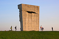 Massive granite monument marks the former Nazi concentration samp of Plaszow in Krakow. Designed architect Witold Ceckiewicz, it was erected in 1964 to commemorate the victims . It bears an inscription in Polish that reads 'In homage to martyrs murdered by the Nazi perpetrators of genocide in the years 1941 to 1945'.