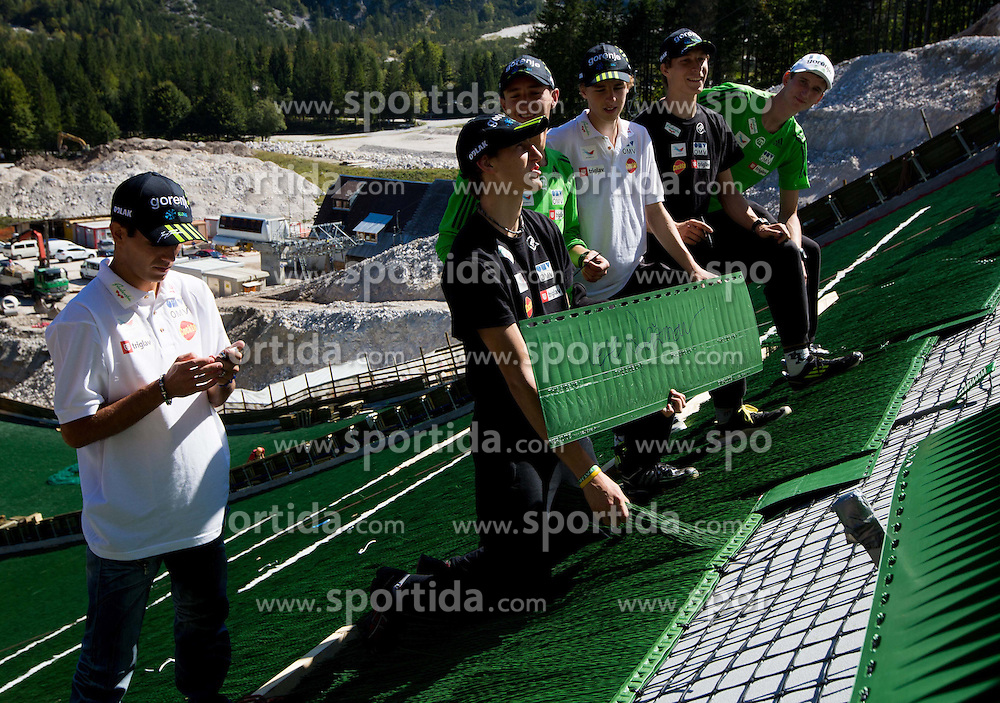 Nejc Dezman (C) at media day of Slovenian Ski jumping team during construction of two new ski jumping hills HS 135 and HS 105, on September 18, 2012 in Planica, Slovenia. (Photo By Vid Ponikvar / Sportida)