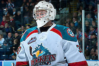 KELOWNA, CANADA -JANUARY 29: Jordon Cooke #30 of the Kelowna Rockets stands on the ice against the Spokane Chiefs on January 29, 2014 at Prospera Place in Kelowna, British Columbia, Canada.   (Photo by Marissa Baecker/Getty Images)  *** Local Caption *** Jordon Cooke;