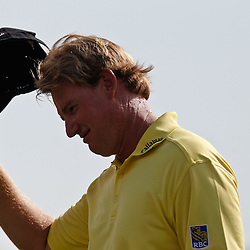 Apr 29, 2012; Avondale, LA, USA; Ernie Els tips his hat to fans after finishing 18th hole during the final round of the Zurich Classic of New Orleans at TPC Louisiana. Mandatory Credit: Derick E. Hingle-US PRESSWIRE