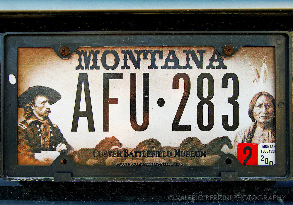 General Custer and Indian on a Montana car plate.