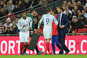 England striker Jamie Vardy (09) getting subbed during the Friendly match between England and Spain at Wembley Stadium, London, England on 15 November 2016. Photo by Matthew Redman.