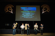 "From left to right, Johnathan Hsu, John Kellett, Nathan Tao, Oscar Pangilinan, and Christian Manzana of San Jose State University's School of Music and Dance's Thursday Morning Revival perform ""Bourbon Street Parade"" during Humanities & Arts Day Student Showcase at San Jose State University's Student Union Barrett Ballroom in San Jose, California, on October 25, 2013. (Stan Olszewski/SOSKIphoto)"