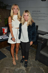 Left to right, TIFFANY WATSON and JESS WOODLEY at a reception hosted by Tiffany Watson in aid of The Eve Appeal held at The Phene, 9 Phene Street, London on 8th September 2015.