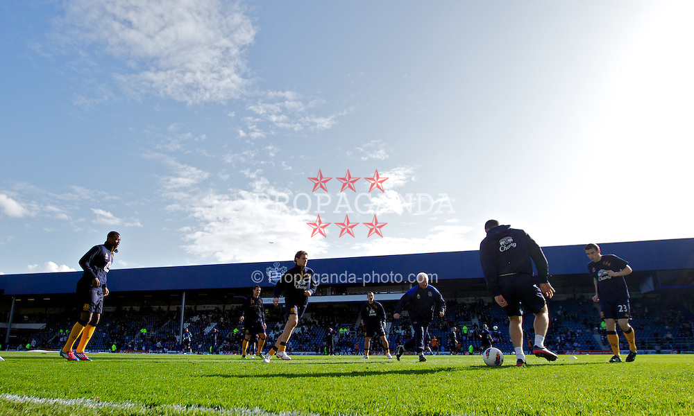 LONDON, ENGLAND - Saturday, March 3, 2012: A general view of Loftus Road as Everton's substitues warm-up before the Premiership match between Queens Park Rangers and Everton. (Pic by Vegard Grott/Propaganda)