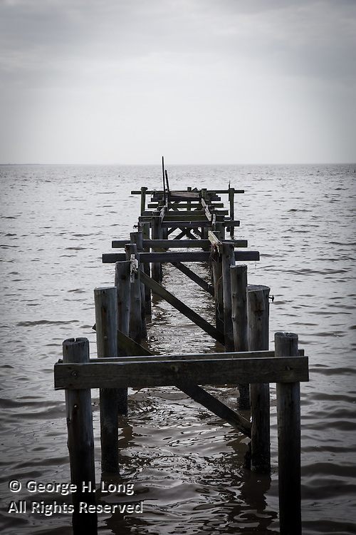 heavily damaged pier on Lake Pontchartrain; Mandeville, Louisiana