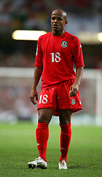 CARDIFF, WALES - Wednesday, September 8, 2004: Wales' Robert Earnshaw in action against Northern Ireland during the Group Six World Cup Qualifier at the Millennium Stadium. (Pic by David Rawcliffe/Propaganda)