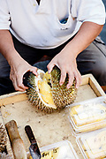 Seling durian on the street. Georgtown, Penang