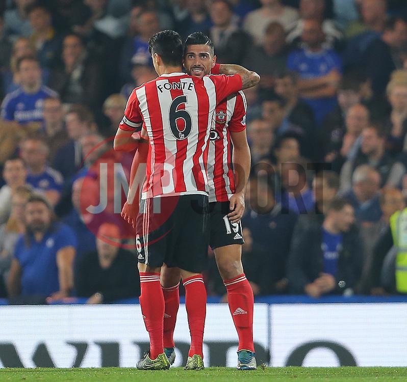 Graziano Pelle ( R ) of Southampton celebrates after he scores to make it 3-1 - Mandatory byline: Paul Terry/JMP - 07966 386802 - 03/10/2015 - FOOTBALL - Stamford Bridge - London, England - Chelsea v Southampton - Barclays Premier League