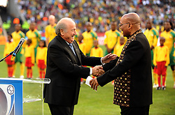 Johannesburg South Africa Opening Ceremony Confederations Cup 2009 14.06.2009.Sepp blatter is greeted by President Jacob Zuma.