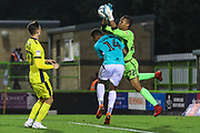 Forest Green Rovers Tahvon Campbell(14) challenges Cheltenham Town's Rhys Lovatt(22) during the EFL Trophy match between Forest Green Rovers and Cheltenham Town at the New Lawn, Forest Green, United Kingdom on 4 September 2018.