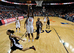 Virginia center Aisha Mohammed (33) shoots against Maryland.  The Virginia Cavaliers women's basketball team fell to the #4 ranked Maryland Terrapins 74-62 at the John Paul Jones Arena in Charlottesville, VA on January 18, 2008.