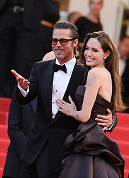 Brad Pitt and Angelina Jolie arriving for the screening of the film 'The Tree of Life' presented in competition in the Feature Films section as part of the 64th Cannes International Film Festival, at the Palais des Festivals in Cannes, southern France on May 16, 2011. Photo by Hahn-Nebinger-Genin/ABACAPRESS.COM