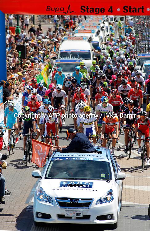 2015 Santos Tour Down Under. Adelaide. Australia.<br /> 23.1.2015.  Glenelg to Mount Barker.144.5km<br /> Start @ Colley Terrace in Glenelg. <br /> into stage 4  - Tour Down Under Australia 2015, Cycling, road race, Radrennen, Australien -  Radsport - Rad Rennen -<br /> - fee liable image: copyright &copy; ATP - IVKA Damir<br /> <br /> first row; 94, MALACARNE Davide, ITA, Astana, 7,DENNIS Rohan, AUS, BMC, 181,BOBRIDGE Jack, AUS, Team Unisa, 102,CARUSO Giampaolo, ITA, Katusha, <br /> 121,CAPECCHI Eros, ITA, Movistar,