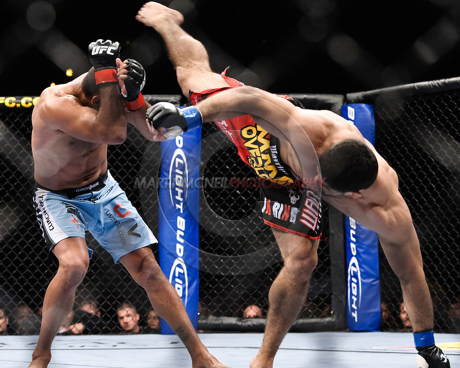 "ATLANTA, GEORGIA, SEPTEMBER 6, 2008: Dan Henderson (left) ducks a kick from Rousimar Palhares during ""UFC 88: Breakthrough"" inside Philips Arena in Atlanta, Georgia on September 6, 2008"
