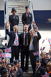 © London News Pictures.  04/07/2013 . London, UK.  Left to Right - Keith Williams, CEO of British Airways, Fabrice Bregier, President and CEO of Airbus and Sir Martin Broughton, Chairman of British Airways, leave the British Airways  AIRBUS A380 superjumbo as it arrives at Heathrow Airport. It was the first time British Airlines have taken delivery of the new plane, making British Airways the first European airline to operate both the 787 and A380. Photo credit : Ben Cawthra/LNP
