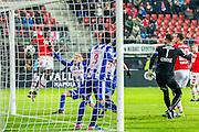 ALKMAAR - 25-01-2017, AZ - sc Heerenveen, AFAS Stadion, AZ speler Derrick Luckassen (l) scoort hier de 1-0, doelpunt, SC Heerenveen keeper Erwin Mulder