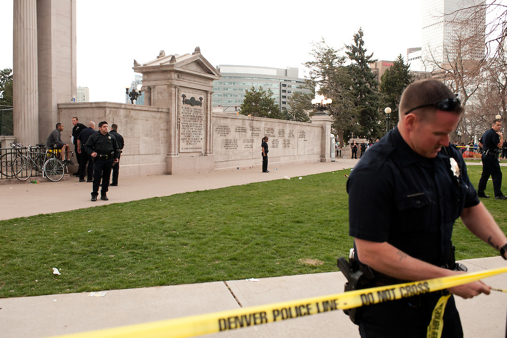 The aftermath of an apparent shooting at Civic Center Park in Denver at the city's pro-marijuana rally on April 20, 2013.