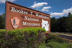 National Park Service welcome sign to the Booker T. Washington National Monument, Hardy, Virginia, August 3, 2008.  The Monument is located on the site of the James and Elizabeth Burroughs Plantation, where Washington was born a slave on April 5, 1865.