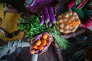 Producer group farmers hold an assortment of vegetables at the collection centre in Machahi village, Muzaffarpur, Bihar, India on October 27th, 2016. Non-profit organisation Technoserve works with women vegetable farmers in Muzaffarpur, providing technical support in forward linkage, streamlining their business models and linking them directly to an international market through Electronic Trading Platforms. Photograph by Suzanne Lee for Technoserve