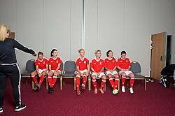 CARDIFF, WALES - Wednesday, April 6, 2016: Wales women's team squad 2016. Kayleigh Green, Angharad James, Sophie Ingle, Jessica Fishlock, Natasha Harding and Helen Ward. (Pic by Ian Cook/Propaganda)