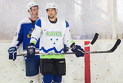 Tomaz Razingar and David Rodman during practice session with Anze Kopitar, NHL star and player of Los Angeles Kings before departure to USA, on September 3, 2014 in Ledna dvorana Bled, Slovenia. Photo by Vid Ponikvar  / Sportida.com