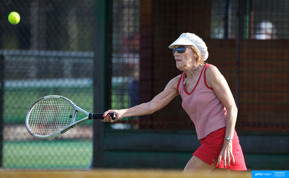 Lyn Tietz, USA,  in action in the 75 Womens Singles during the 2009 ITF Super-Seniors World Team and Individual Championships at Perth, Western Australia, between 2-15th November, 2009.