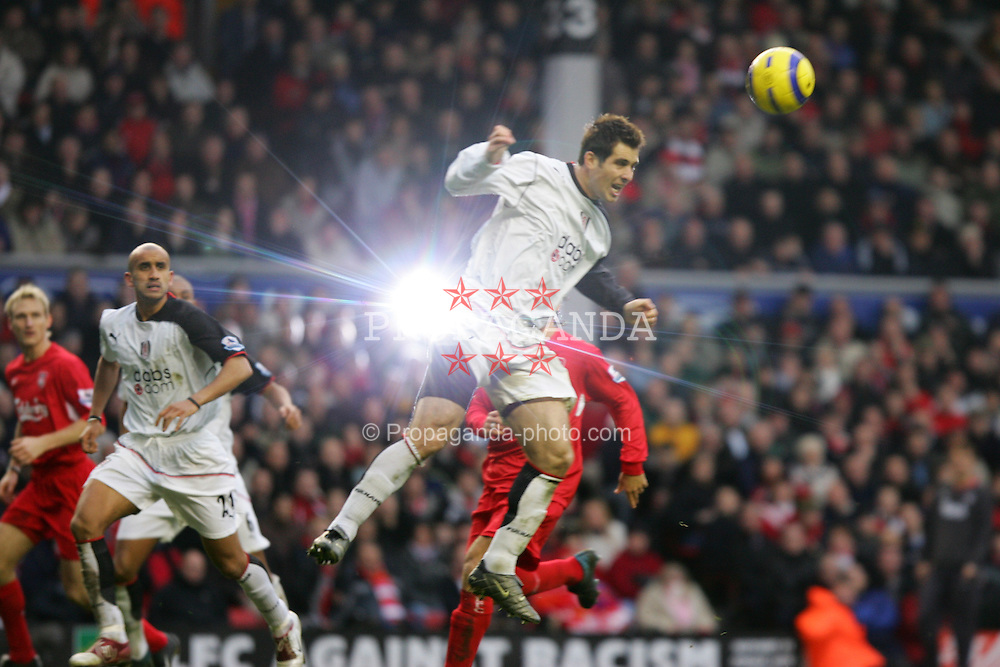 LIVERPOOL, ENGLAND - SATURDAY FEBRUARY 5th 2005: Fulham's Carlos Boconegra in action during the Premiership match at Anfield. (Pic by David Rawcliffe/Propaganda)