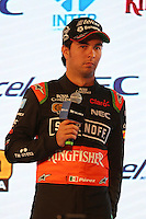 Sergio Perez (MEX) Sahara Force India F1.<br /> Sahara Force India F1 Team Livery Reveal, Soumaya Museum, Mexico City, Mexico. Wednesday 21st January 2015.