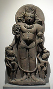Vishnu caturmurti.12th century sandstone sculpture from Jammu and Kashmir, India