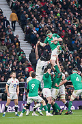 Twickenham, United Kingdom. CJ Stander, collects the line out ball,  Natwest 6 Nations : England vs Ireland. at the  RFU Stadium, Twickenham, England, <br /> <br /> Saturday   17.03.18<br /> <br /> [Mandatory Credit; Peter Spurrier/Intersport-images]