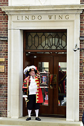 Town crier Tony Appleton announces the birth of the Duke and Duchess of Cambridge's second baby, a girl, at the Lindo Wing of St Mary's Hospital in London.