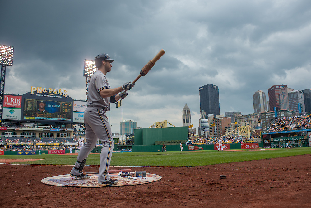 PITTSBURGH, PA - JUNE 08: Ryan Braun #8 of the Milwaukee Brewers warms up during the game against the Pittsburgh Pirates at PNC Park on June 8, 2014 in Pittsburgh, Pennsylvania. (Photo by Rob Tringali) *** Local Caption *** Ryan Braun