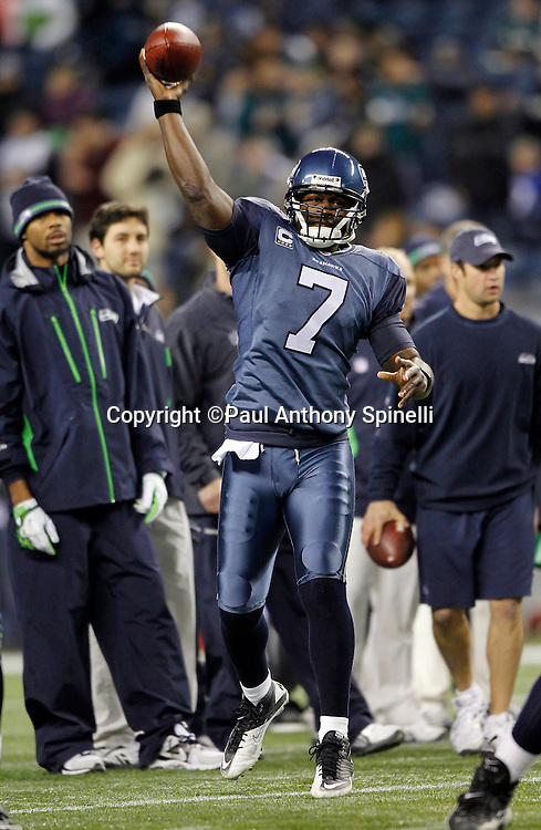 Seattle Seahawks quarterback Tarvaris Jackson (7) throws a pregame pass during the NFL week 13 football game against the Philadelphia Eagles on Thursday, December 1, 2011 in Seattle, Washington. The Seahawks won the game 31-14. ©Paul Anthony Spinelli