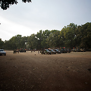 January 19, 2013 - Niono, Mali: French Army men gather in Niono's main square near the Mali police headquarters. Niono is the last government controlled location before Diabaly, a city under islamist militants control since the 14th of January...Several insurgent groups have been fighting a campaign against the Malian government for independence or greater autonomy for northern Mali, an area known as Azawad. The National Movement for the Liberation of Azawad (MNLA), an organisation fighting to make Azawad an independent homeland for the Tuareg people, had taken control of the region by April 2012...The Malian government pledge to the French army to help the national troops to stop the rebellion advance towards the capital Bamako. The french troops started aerial attacks on rebel positions in the centre of the country and deployed several hundred special forces men to counter attack the advance on the ground. (Paulo Nunes dos Santos/Polaris)