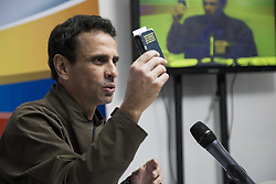 May 19, 2017 - Caracas, Venezuela - Venezuelan opposition leader Henrique Capriles offers a press conference in Caracas on May 19, 2017. Capriles denounced that authorities confiscated his passport and stopped him travelling to New York to discuss his country's deadly political crisis with United Nations officials. (Credit Image: © Panoramic via ZUMA Press)