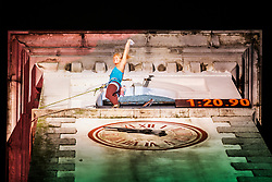 Svana Bjarnason during Finals in climbing the 30m high bell tower on August 3, 2019 in Kanal ob Soci, Slovenia. Photo by Peter Podobnik / Sportida