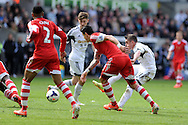 Swansea city's Pablo Hernandez &reg; shoots wide of goal.  Barclays Premier league match, Swansea city v Southampton at the Liberty stadium in Swansea, South Wales on Saturday 3rd May 2014.<br /> pic by Andrew Orchard, Andrew Orchard sports photography.