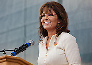Former Alaskan Governor Sarah Palin, the key note speaker at the Take Back America Tea Party Rally in Indianola Iowa on September 3, 2011, addresses a crowd of about 2000 people.<br /> Palin's speech sharply criticized president Obama and the status quo. She did not declare herself a candidate but did not rule it out before she heading  to New Hampshire to headline a  Tea Party Express event.