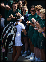 Laura Robson goes over to see her brother Nick Robson (sun Glasses) a groundsman on court No2  after beating Marina Erakovic at<br /> The All England Lawn Tennis Club, Wimbledon, United Kingdom<br /> Saturday, 29th June 2013<br /> Picture by Andrew Parsons / i-Images