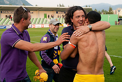 Zlatko Zahovic and Marcos Tavares of Maribor celebrate after winning the football match between NK Primorje and NK Maribor of 1st Slovenian football league PrvaLiga, on May 21, 2011 in Ajdovscina, Slovenia. Maribor defeated Primorje 2-1 and became Slovenian national Champion 2010/2011. (Photo By Vid Ponikvar / Sportida.com)