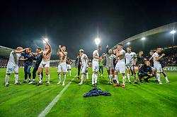 Players of NK Olimpija Ljubjana celebrating after football match between NK Maribor and NK Olimpija Ljubljana in 34th Round of Prva liga Telekom Slovenije 2017/18, on May 19, 2018 in Ljudski vrt, Maribor, Slovenia. Photo by Mario Horvat / Sportida