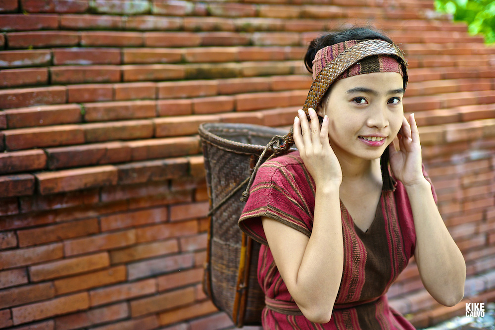 Teen girl wearing a Khmu country side traditional dress in Laos. Name: Anna Saksena