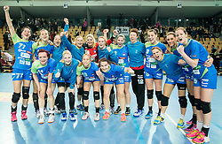 Players of Slovenia celebrate after winning during handball match between National Teams of Slovenia and Former Yugoslav republic of Macedonia in Round #3 of EHF European Women Championship Qualifications, on March 10, 2016 in Arena Luknja, Maribor, Slovenia. Photo by Vid Ponikvar / Sportida