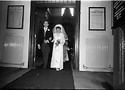 "16/09/1967<br /> 09/16/1967<br /> 16 September 1967<br /> Wedding of Mr Francis W. Moloney, 28 The Stiles Road, Clontarf and Ms Antoinette O'Carroll, ""Melrose"", Leinster Road, Rathmines at Our Lady of Refuge Church, Rathmines, with reception in Colamore Hotel, Coliemore Road, Dalkey. Image shows the Bride and Groom leaving the church after the ceremony."