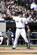 CHICAGO - APRIL 04:  Paul Konerko #14 of the Chicago White Sox calls for time during the game against the Kansas City Royals on April 4, 2013 at U.S. Cellular Field in Chicago, Illinois.  The Royals defeated the White Sox 3-1.  (Photo by Ron Vesely)   Subject: Paul Konerko